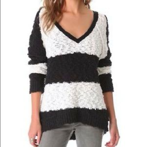 Free People Black And White Vneck  Sweater